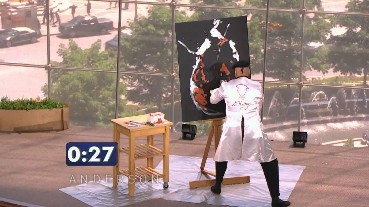En konstnär målar en tavla på 90 sekunder. När han är klar lurar han hela publiken!