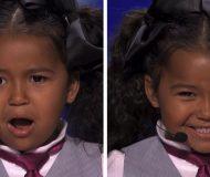 Det den lilla tjejen gör på scenen fick juryn att fullkomligt älska henne! Wow!