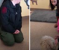 Livrädd hund känner inte igen familjen tills mamman gör en rörelse som får den att hoppa av glädje!